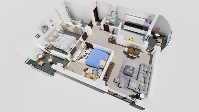 Apartament 3 CAMERE tip B - Landmark Tower