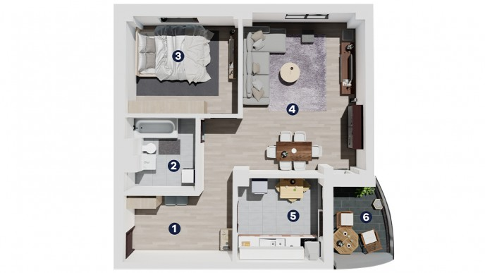 Apartament 2 CAMERE tip A - Landmark Tower