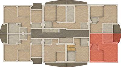 Localizare apartament Landmark Tower la etaj